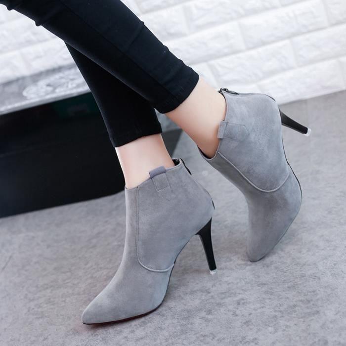 Automne et hiver les femmes & # 39; bottes à talons hauts bottes bottes unique 2017 nouvelles chaussures fines avec des chaussures