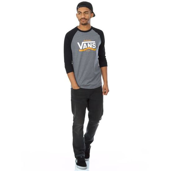 7b43c456ac T-shirt manches raglan Vans Authentic Stripe Heather Gris-Noir Gris - Achat    Vente t-shirt - Soldes  dès le 9 janvier ! Cdiscount