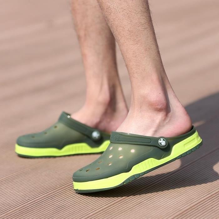 Nouveau design Hommes Mesh Sandales Respirant été talon plat Sandales hommes plage Tongs Chaussons,vert,42