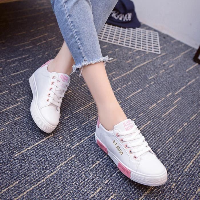 Chaussures femmes Skateboard chaussures de sport dame super plat lumière marchant toutes les chaussures en cuir de couleur de rg67gI