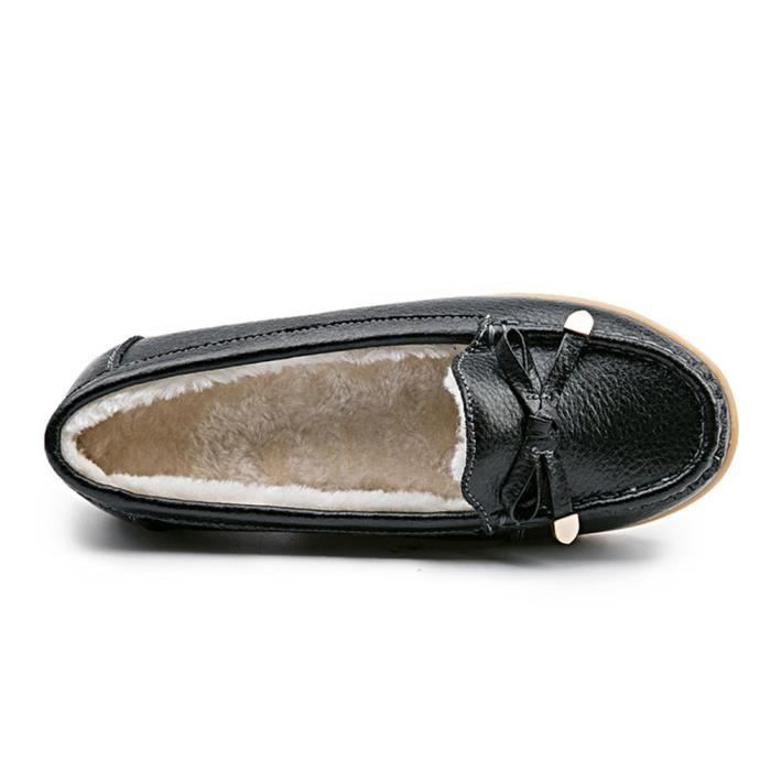 Leather Plush Moccasin Loafer Driving Shoes Slip On Flexible Casual Slippers Flat Shoes PMPPZ Taille-39 1-2