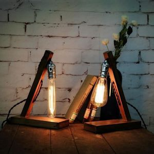 LAMPE A POSER Retro Vintage Lampe a poser en bois Industrial Lam