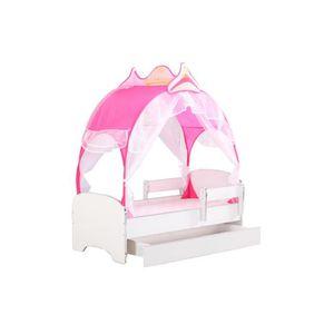 LIT COMPLET Lit Enfant avec tente de princesse rose + barrière