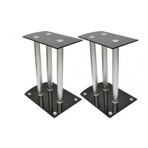 SUPPORT ENCEINTES SONO Lot de 2 reposes enceinte en aluminium et verre