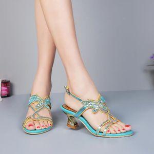 Sandales vert Nouveaux bohême papillon strass cloutés sangle cheville épaisses à talons chaussures de mariage mariée uXY16Mbr
