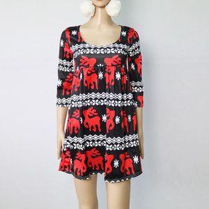 0e0d23f6059 ROBE Femmes Robe de Noël Ladies Christmas Deer Elk Impr