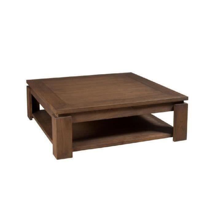table basse carrée bois acajou cannelle 90cm louna - achat / vente