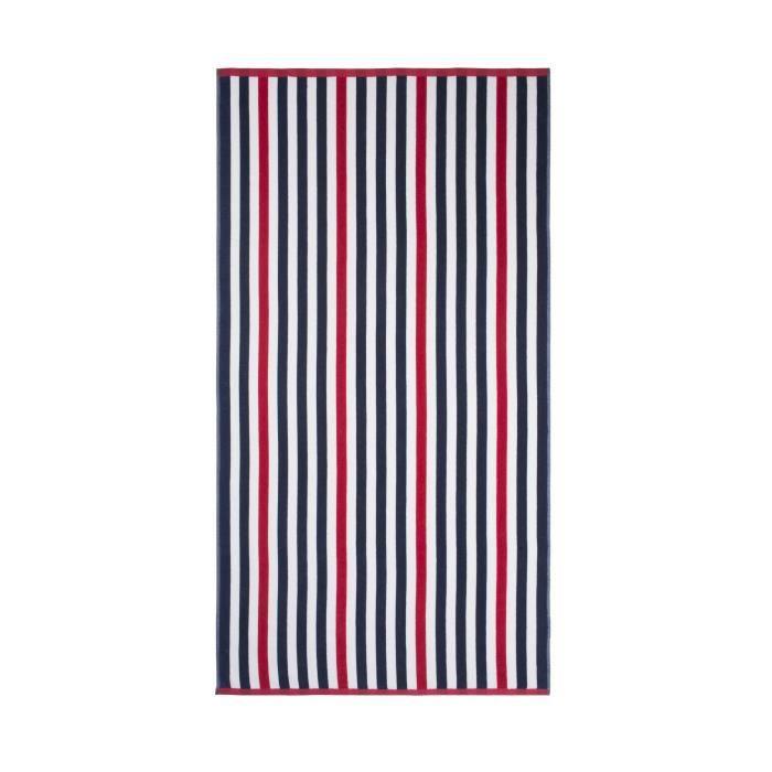 JULES CLARYSSE Drap de plage velours Océan LINE Rouge & Bleu - 90x170cm