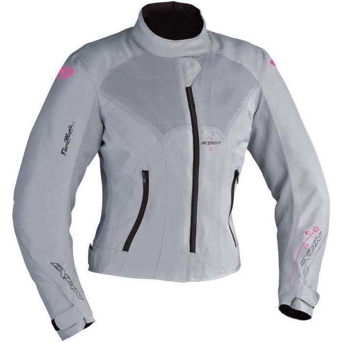 IXON Flora Blouson Moto Textile Gris et Rose