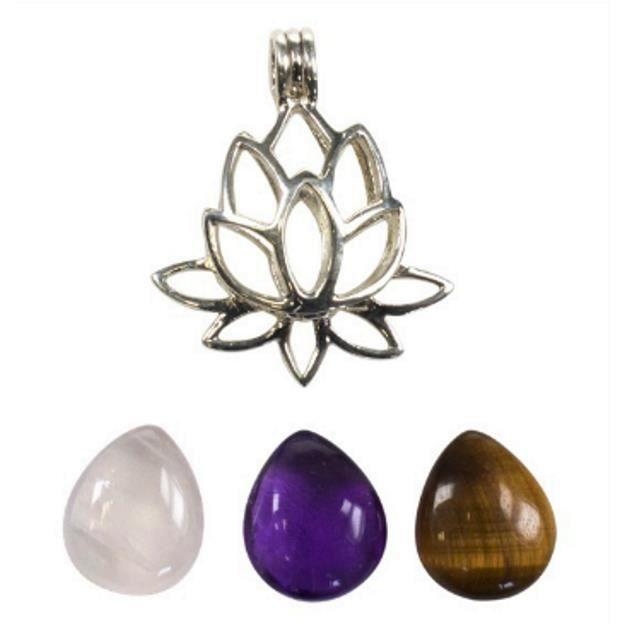 Pendentif Fleur de Lotus Argent (3 Pierres)