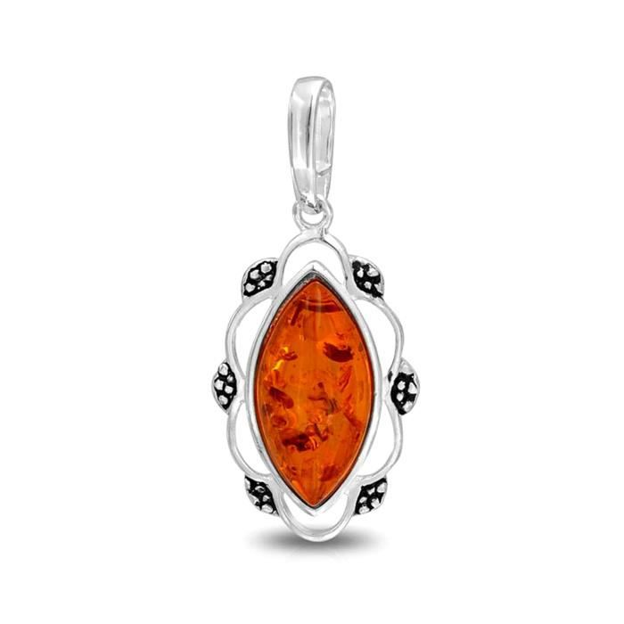 Bling Jewelry pendentif Ambre Miel synthétique style Vintage Marquise Argent 925