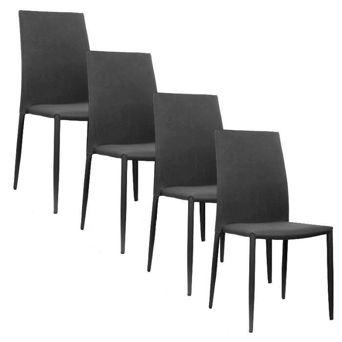 CHAISE Lot De 4 Chaises Moderne Noir En Tissu Empilable