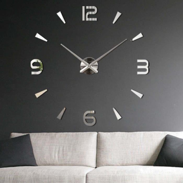 Getek 3d grande horloge murale surface miroir d coration - Grande horloge murale design ...