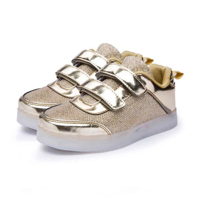 Chaussures de sport lumineuses pour enfants Chaussures de charge USB à lumière LED Garçons Flash Filles Chaussures Mode Or Argent BCVv9B0