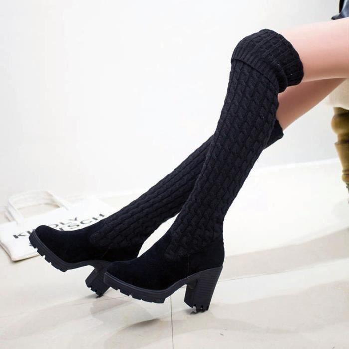 Napoulen®Mode tricotant au-dessus du genou Bottes orteil élastique extensible talon épais pour femmes Noir-XXL70928495BK