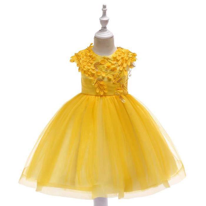 d86a5389b98 Robe de Soirée Fille Enfant de Costume de Princesse Robe Jaune Dentelle  Noël Costumes - 48