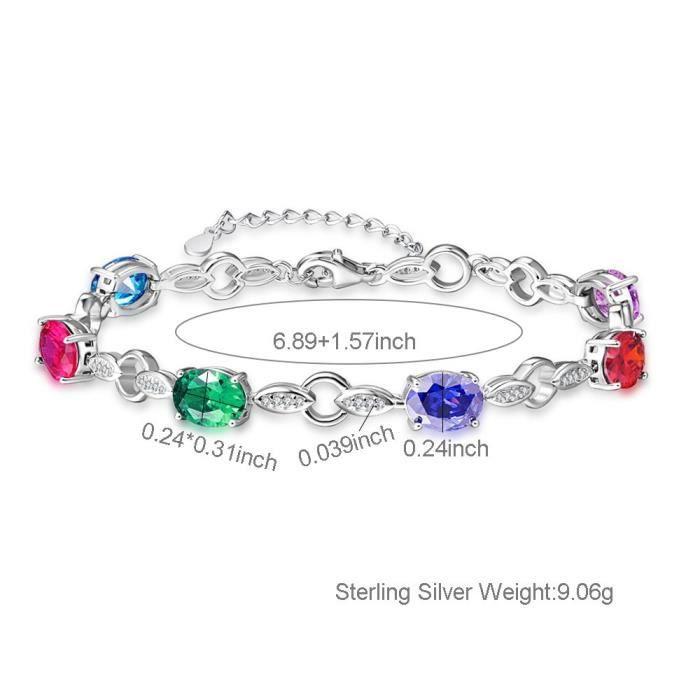 femmes ronde coupe zircon cubique blanc birthstone 925 bracelet chaîne en argent sterling 6.89? W8XXA