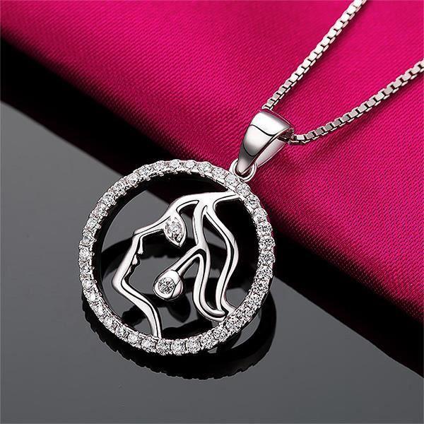 Glamorousky mode argent 925 sterling Vierge pendentif avec zircon cubique blanc et collier (23714)
