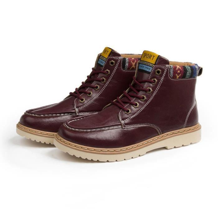 Sidneyki®Homme Automne Décontracté High-top Chaussures à lacets en plein air Martin Bottes BKDu vin ASD446