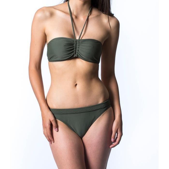CBK Maillot de bain bandeau femme - 2 pièces - Uni Kaki - Effet tressage