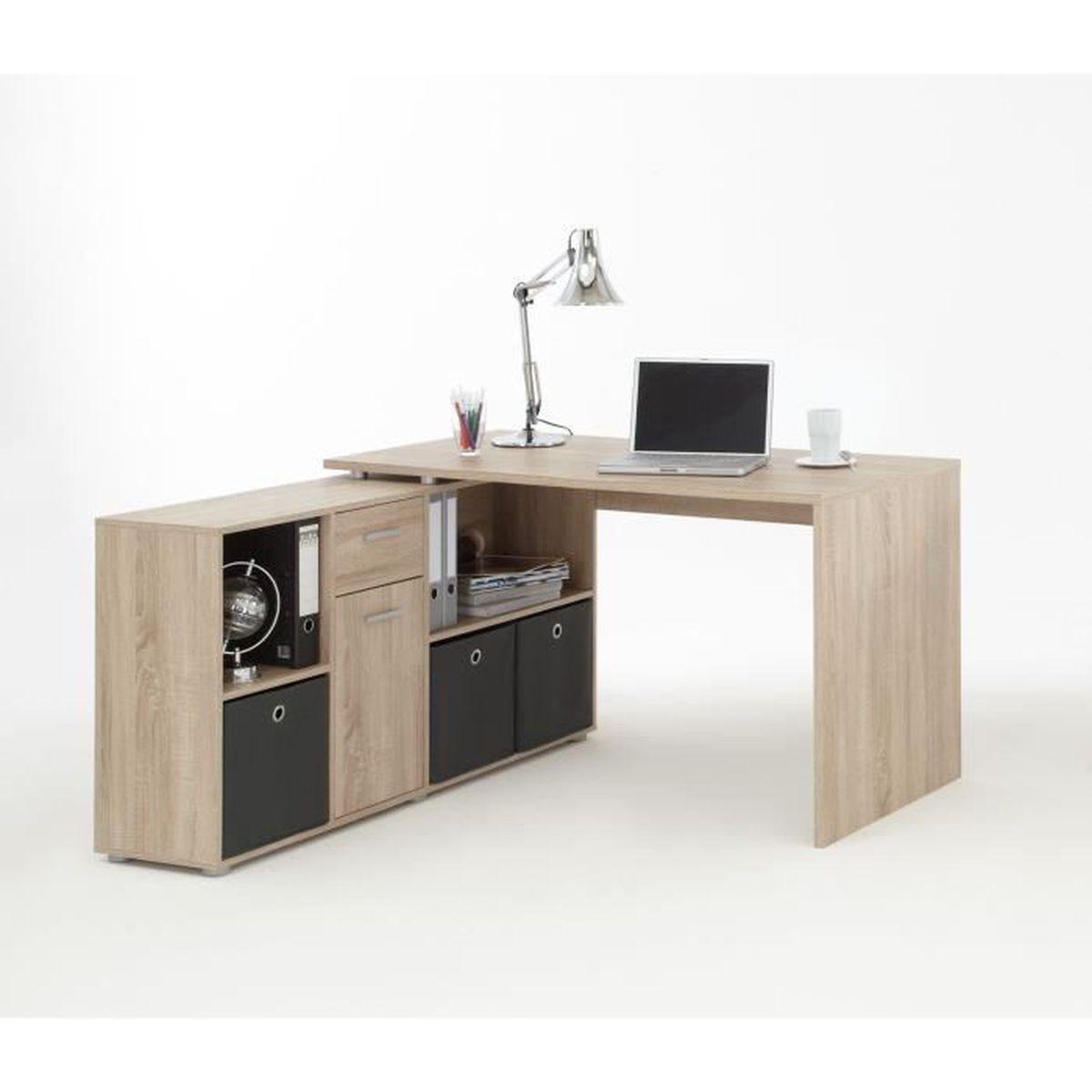 Zito bureau angle reversible classique ch ne l 136 cm achat vente bureau zito bureau angle - Bureau classique ...