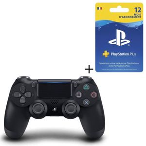 PACK ACCESSOIRE Pack Manette DualShock 4 Noire V2 + Abonnement Pla