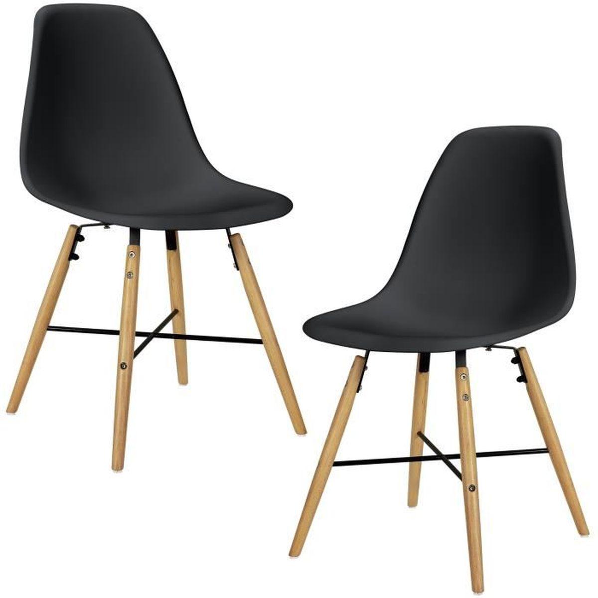 En Casa 2x Chaise De Design Noir Plastique Salle A Manger Cuisine