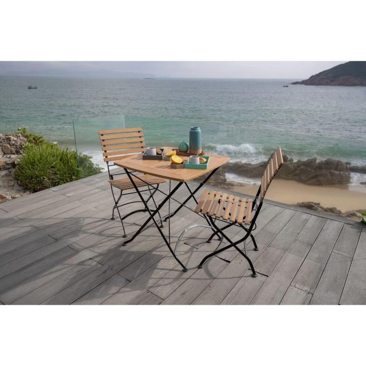 Table de jardin ou de balcon pliable - 2 places - Métal, bois et ...
