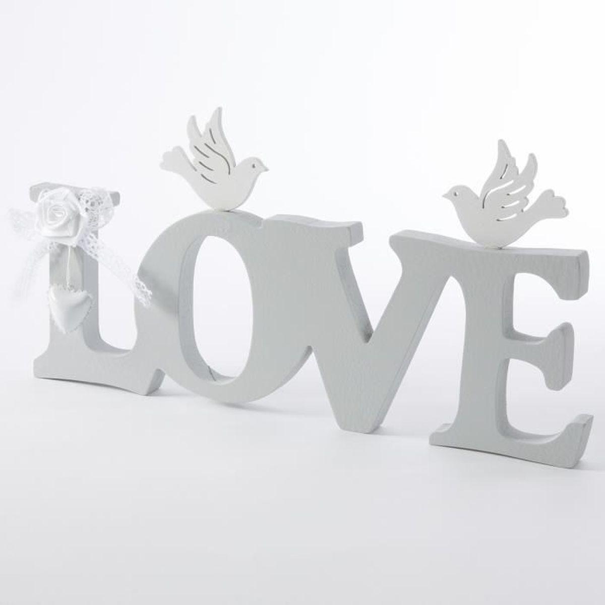 Objet d co love en bois gris avec coeur colombe et rose for Decoration murale objet