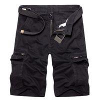 Acheter un en obtenir un gratuitement Bermuda Homme Noir Marque Luxe Cinquième Pantalon