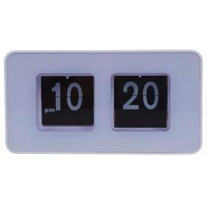 HORLOGE - PENDULE Blanc Unique Retro Auto flip horloge Cube bureau T