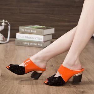 SANDALE - NU-PIEDS Femmes Sandales couleur strass épais talon mi Toe