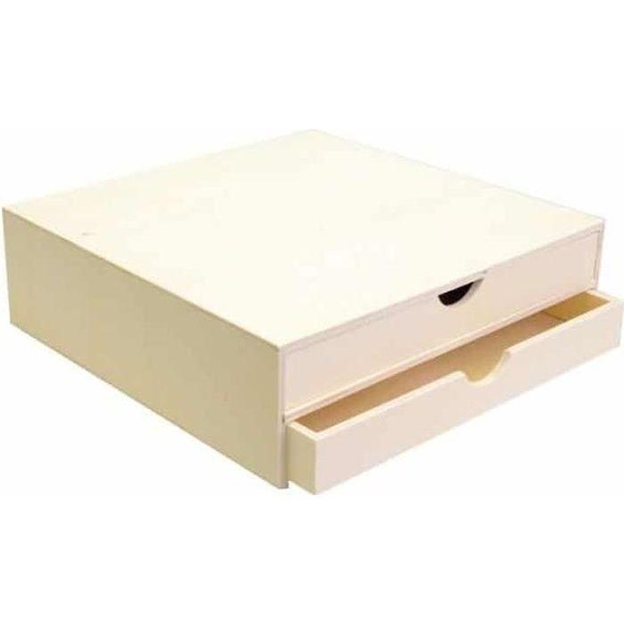 bloc en bois deux tiroirs 34 5x34x10cm art mio marron. Black Bedroom Furniture Sets. Home Design Ideas