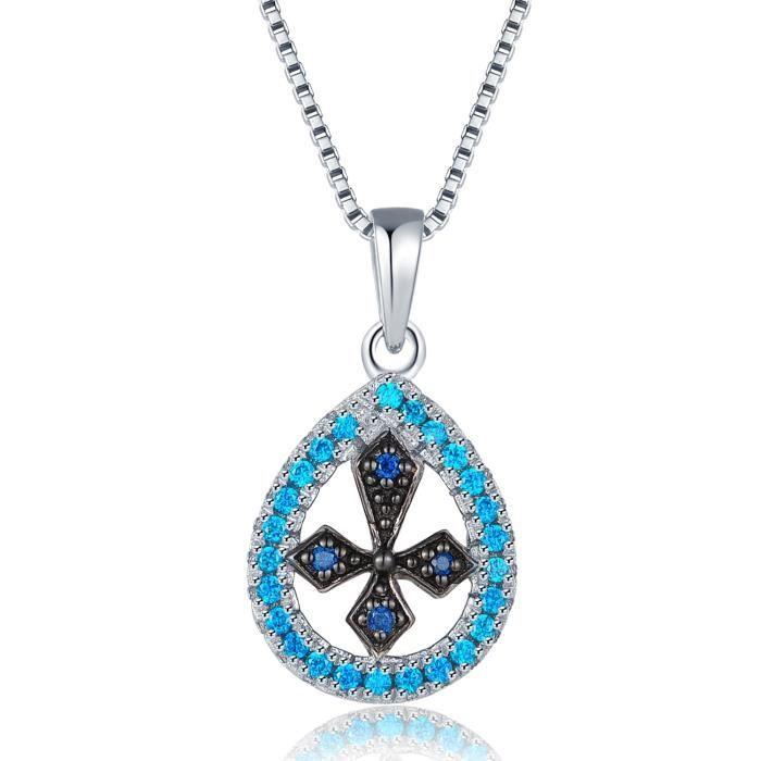 MBLife Croix dans Larme Pendentif Collier Femme Argent Sterling 925 Bleu CZ (17 Pouces)