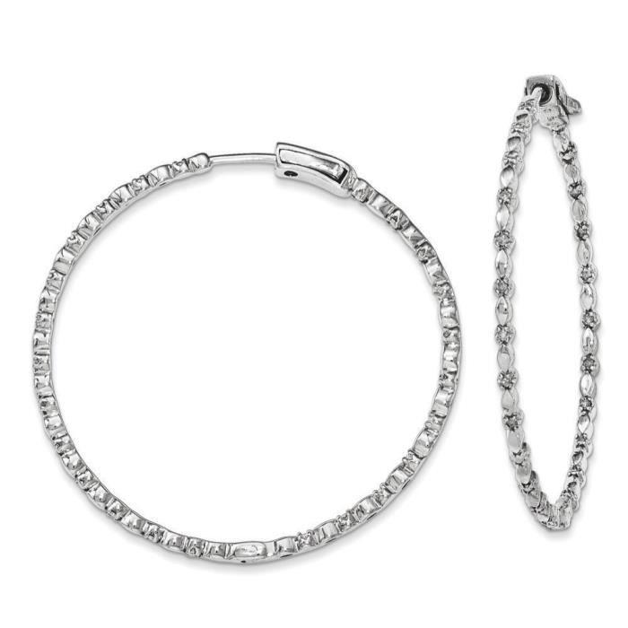 Argent Sterling diamant-Boucles dOreilles Créoles