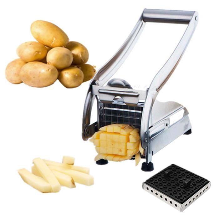 Acier inox coupe frites presse ventouse patate pomme de terre 2 lames achat vente lot - Coupe pomme de terre pour frite ...