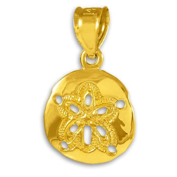 Collier Pendentif10 ct 471/1000 Polie Collier Pendentif en or Sable-dollar(vient avec une Chaîne de 45 cm)