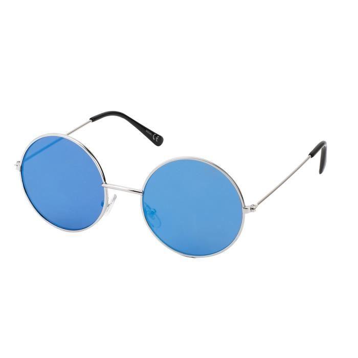 e1d5c68d0e275e Lunette Hippie miroir7827 monture argent verre miroir bleu vert ...