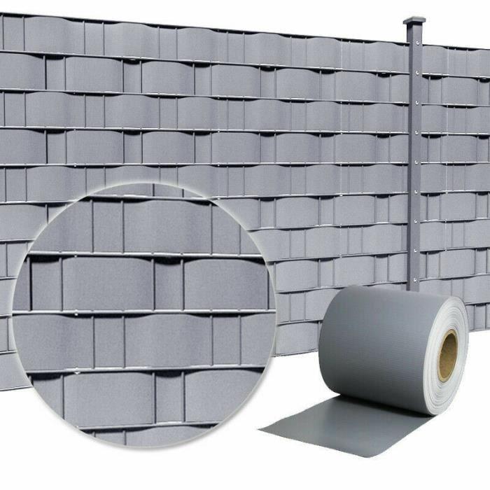 MCTECH 65mx19cm PVC brise-vue pare-vent pour clôture Protection visuelle  pour jardin avec 30 clips de fixation Gris