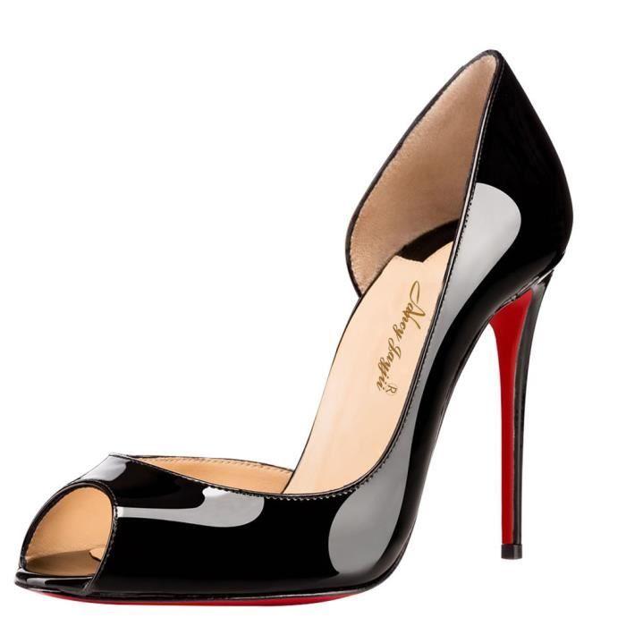 Chaussures femmes cuir, talons aiguilles peaus à bouts ouverts Nancy Jayjii.