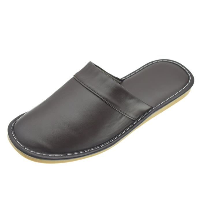 Comfy Mens Synthetic Leather House Indoor Slippers Shoes Water Resistant EVGN6 Taille-43