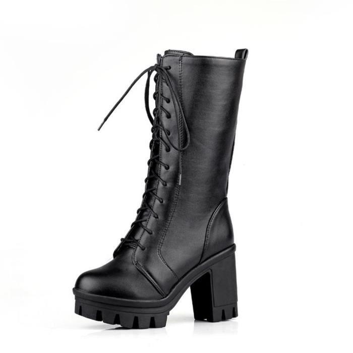 new arrivals 66158 ca0bb Bottes à Talons Hauts pour Femmes Chaud Chaussures en Cuir Compensé à Lacets  Sexy Hiver 34-43 Noir