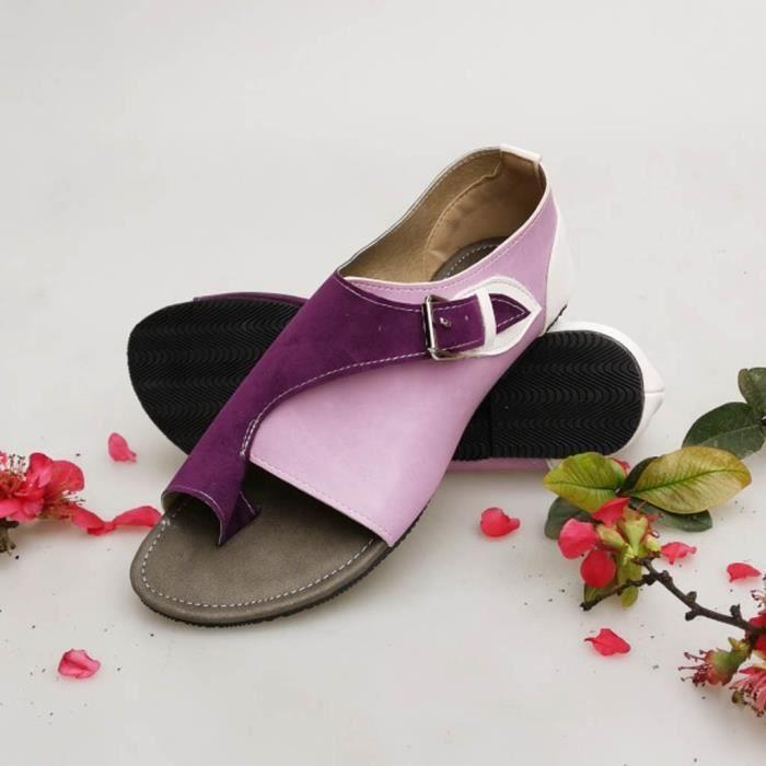 Femmes Plates Loisirs Confortable Sandal Violet Plat Soft Romaines Sandales Boucle Bracelet Style qz7wPwXZ