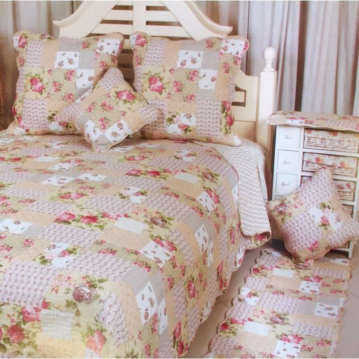 couvre lit boutis 260x260 achat vente pas cher. Black Bedroom Furniture Sets. Home Design Ideas