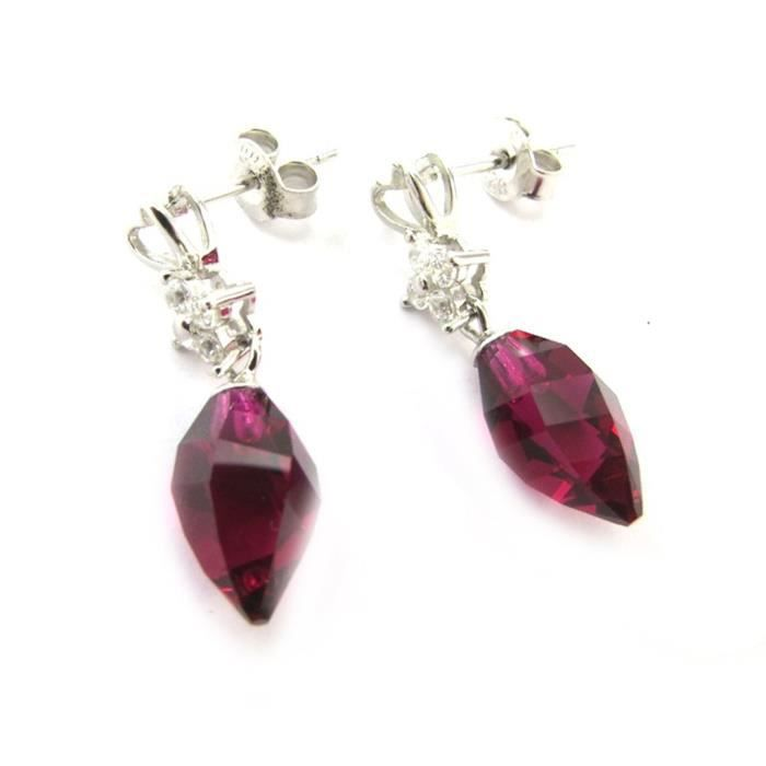 Lily-Crystal [N3513] - Boucles Argent Sissi cerise(Crystal)