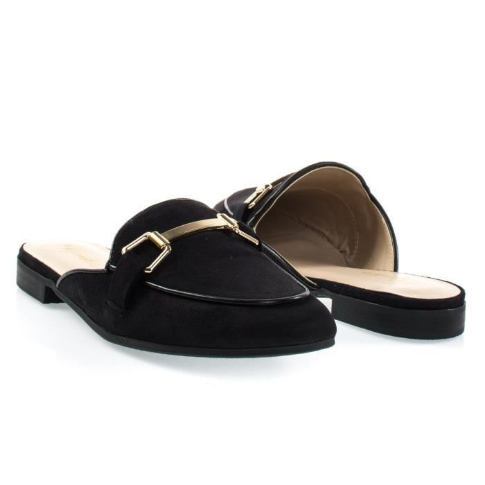 Mors Gold Tone Women Hardware Backless Slip On Mocassins NKO67 Taille-37 ur1WIZnqP