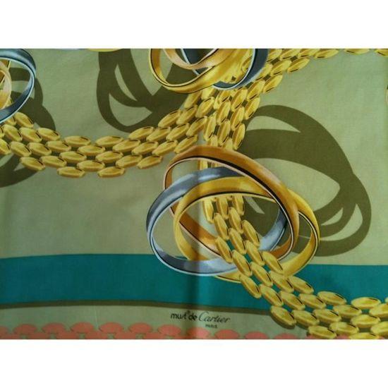 e2b99e9e0c8 Foulard Cartier Must en twill de soie Vert - Achat   Vente echarpe - foulard  2009981645130 - Cdiscount