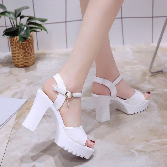 1672 Blanc Buckle Mouth Heels Sandals xiezi Wedge Femmes Platform High Slope Fish wzqZ0RHP