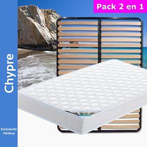 ENSEMBLE LITERIE Chypre - Pack Matelas + Lattes 140x200