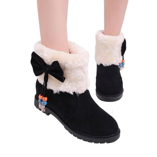 Bow Rond Oppapps1957 Bottes Chaussures Suede Coton Chaude Gardez Compensées Bout Mules Femmes Neige 7gvybmIYf6